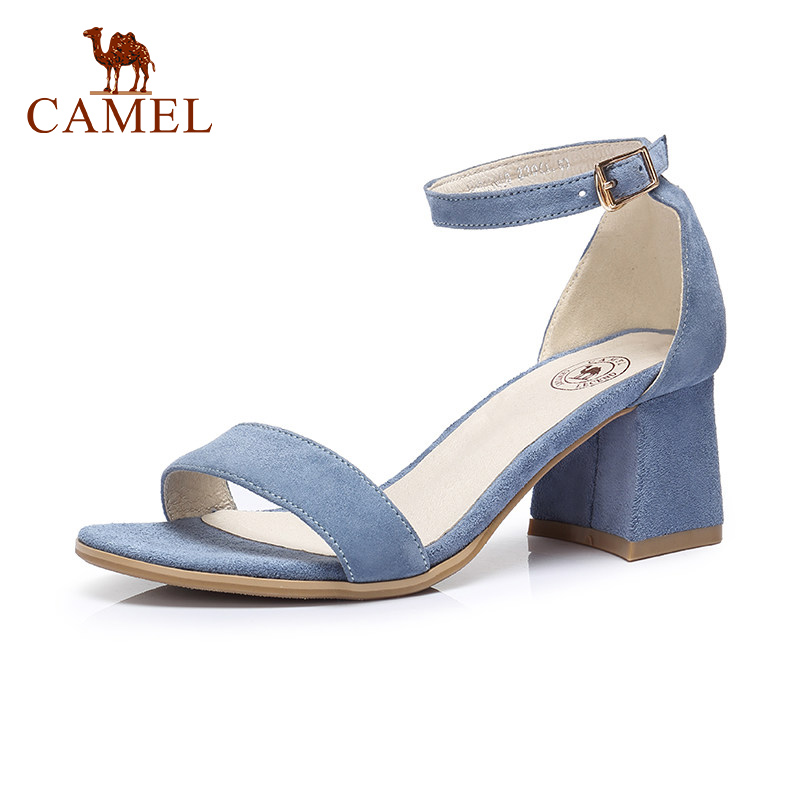 CAMEL Ladies Spring New High Heel Sandals Women Buckle Fashion Party Dress Single Shoes For Ladies