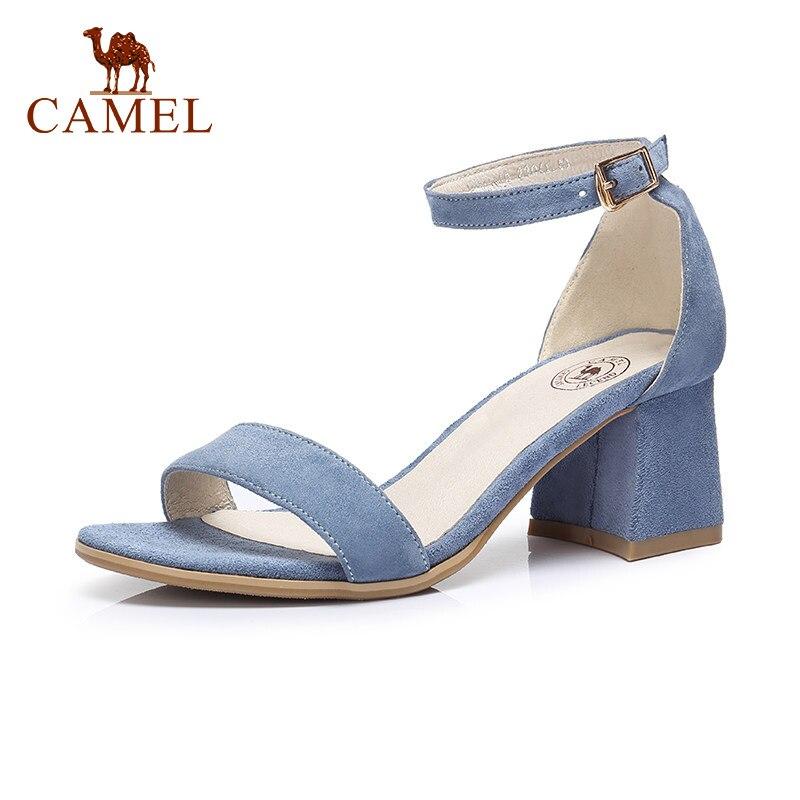 CAMEL señoras primavera nuevas sandalias de tacón alto mujeres hebilla moda vestido de fiesta zapatos individuales para damas Casual elegante bombas de comodidad-in Sandalias de mujer from zapatos    1