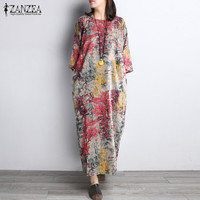 Fashion 2017 ZANZEA Women Vintage Floral Print 3 4 Sleeve O Neck Split Casual Loose Party