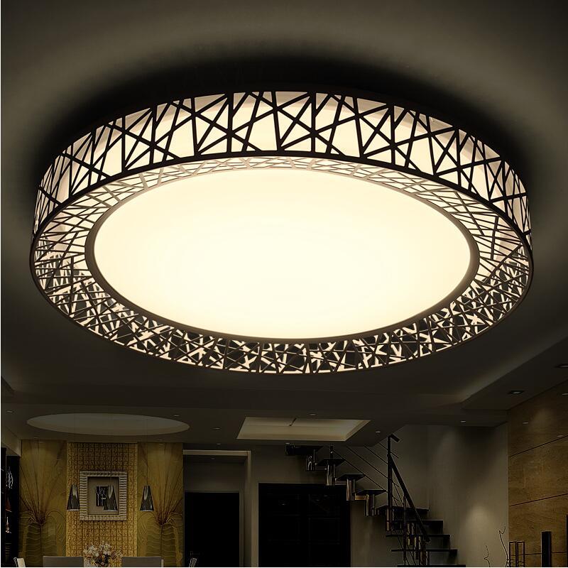 Современные светодиодные потолочные лампы для спальни гостиной железный светильник домашний декоративный черный/белый круглый Птичье гнездо потолочный светильник