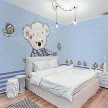 Shy white bear bird childrens room full house wall professional production wallpaper mural custom photo