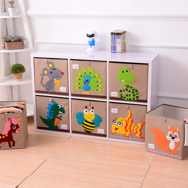 New Cube Clothes Storage Box Kid Toys Organizer Cute Animal Embroidery Pattern Clothing Organizador Bins Drop Shipping