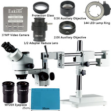 Boom Stand Simul Focal 3.5X-90X Zoom Trinocular Stereo Microscope+ HDMI USB 37MP
