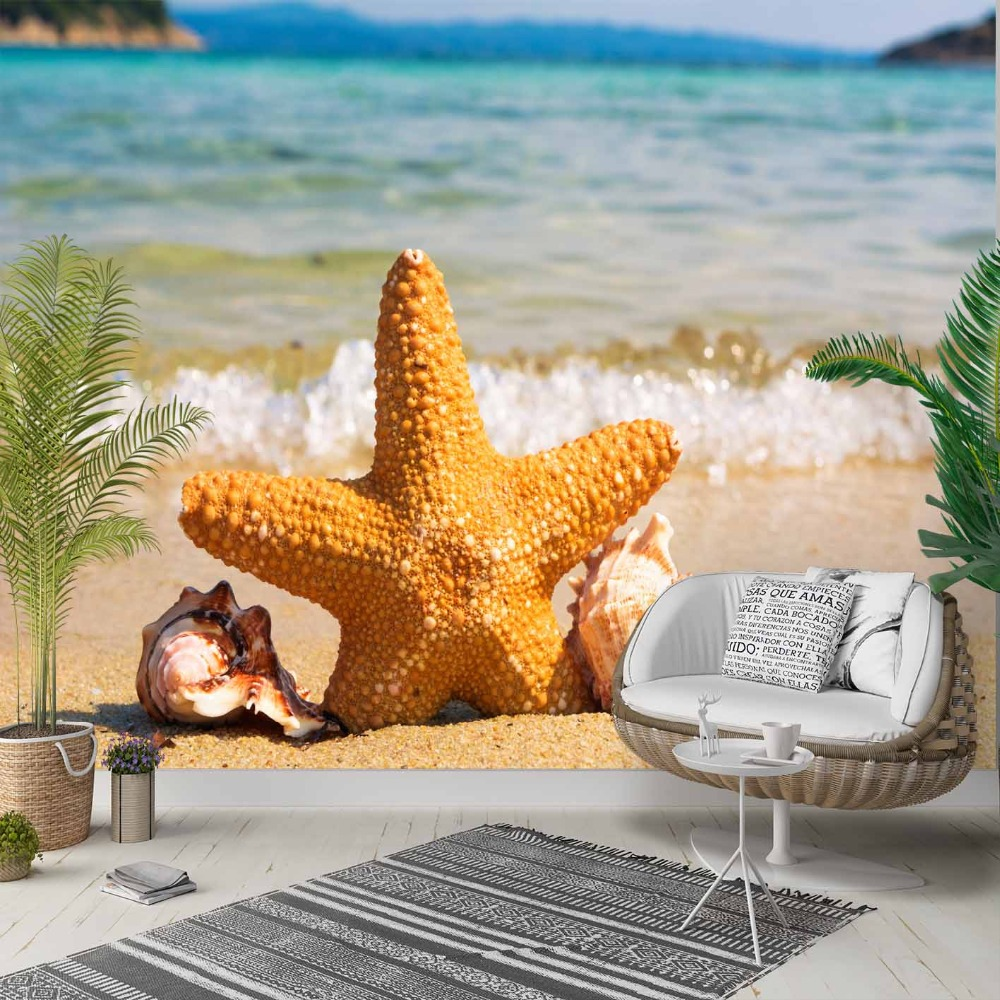 Else Big Yellow Sea Stars Blue Sea Waves 3d Photo Cleanable Fabric Mural Home Decor Living Room Bedroom Background Wallpaper