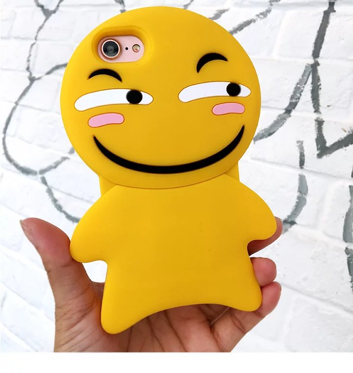 New Cartoon Cute Smile Face Emoji Phone Case For IPhone 6 6S Plus 6plus 7 Soft Silica Gel Back Covers In Half Wrapped From Cellphones