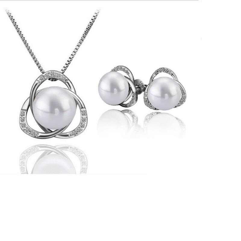 RNAFASHION Schmuck Mode Kristall Strass Simulierte Perle Schmuck Sets Anhänger Halskette Bolzen Ohrring Silber Überzogene Frauen
