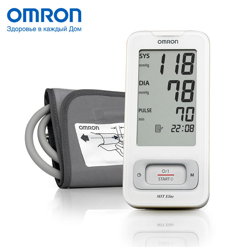 Omron MIT Elite (HEM-7300-WE7) Blood pressure monitor Home Health care Heart beat meter machine Tonometer Automatic Digital omron m3 eco hem 7131 aru blood pressure monitor home health care monitor heart beat meter machine tonometer automatic digital