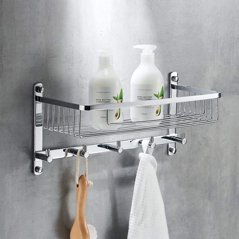 Stainless Steel Towel Rack, with Hook Rail, Multi Function Bathroom Shower Basket Organizer free basket derui sonic cleaners with multi function water proof dr p40 4l