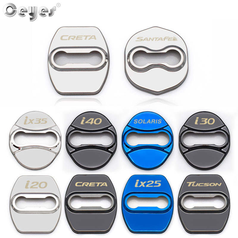 Ceyes Car Styling Stickers <font><b>Accessories</b></font> Door Lock Cover Case For <font><b>Hyundai</b></font> Santa Fe Sonata Solaris Azera Creta I30 Ix25 Tucson <font><b>IX35</b></font> image