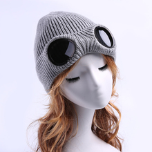 Фотография Novelty Dual Use Hats Female Glasses Winter Beanie Warm Hat Knitted Caps