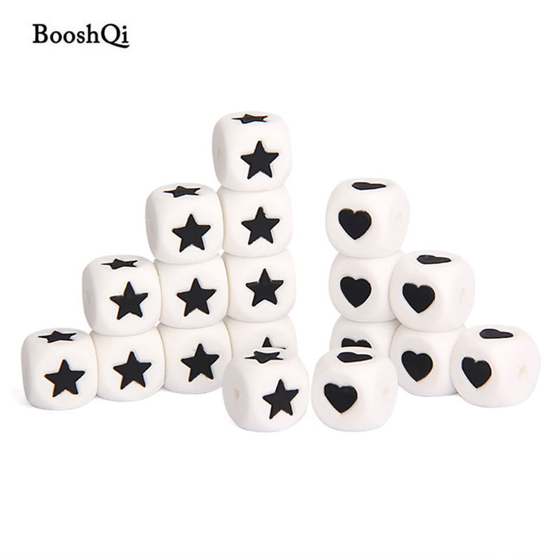 100pcs Food Grade 12mm Cube Heart Star Silicone Teething Beads BPA Free Bead for Baby Necklace Teethers and Pacifier Chain Clips