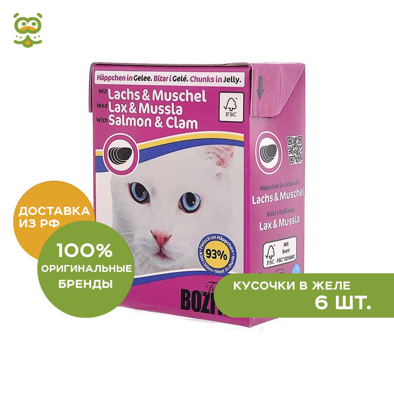 Bozita Feline canned food for cats (pieces in jelly), Salmon and mussels, 6*370 g. корм консервированный для кошек bozita chunks in jelly with salmon
