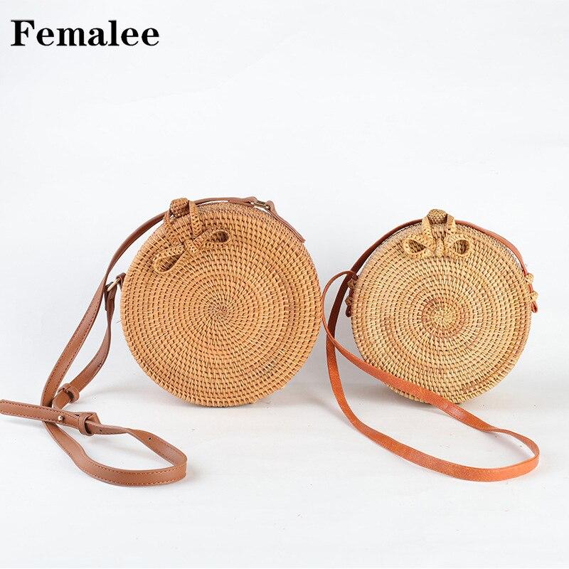 FEMALEE INS Women Handmade Round Bali Bag Beach Bohemian Shoulder Bag Bali Circle Crossbody Straw Bag Summer Woven Rattan Basket все цены