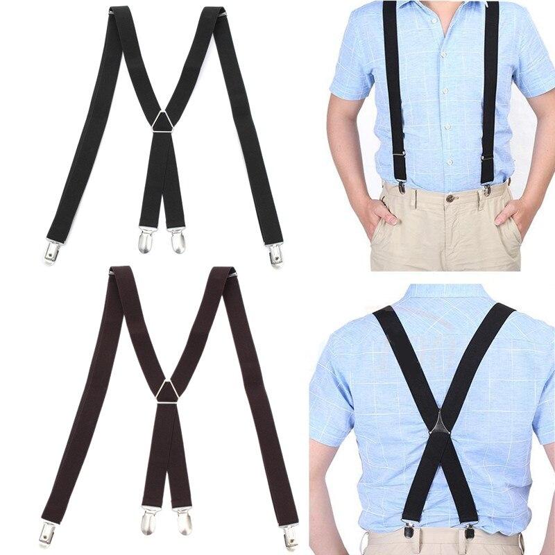 Tirantes 1 Tirantes Elasticos Ajustable Para Pantalones Y Diseno Clip Hombre Mujer Nino Rojo Ropa