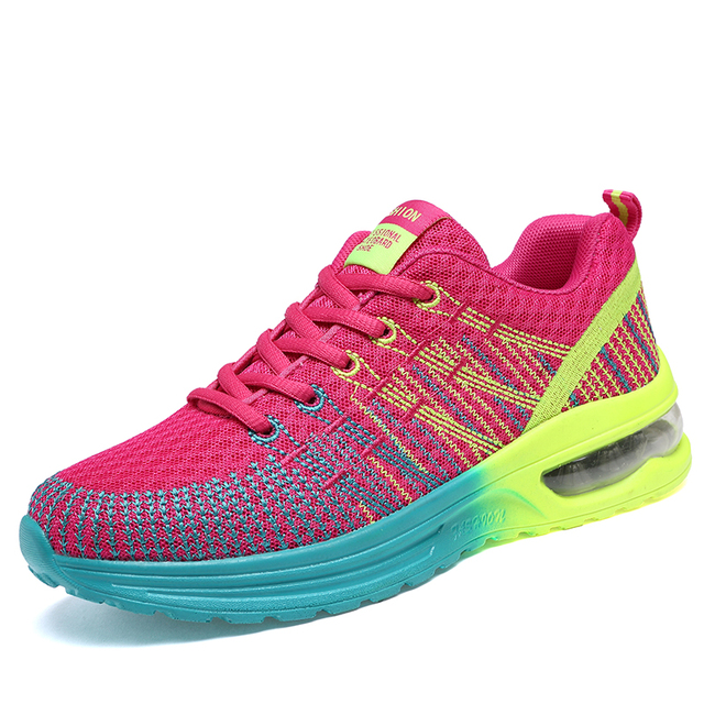 Womens Outdoor Sport Damping Soft Air Cushion Brand Running Shoes Lace Up Breathable Air Mesh Sneakers Size 35-40