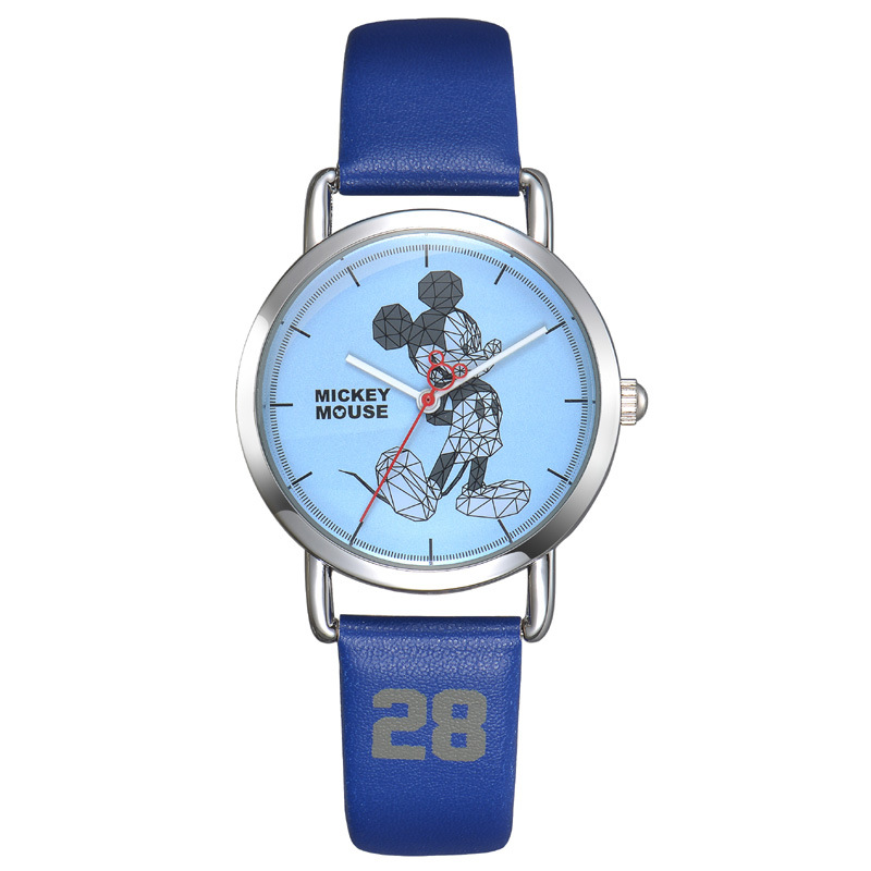 Disney brand child boy cartoon Mickey mouse leather quartz watches children boys students fashion clocks waterproof wristwatch cuties minnie kiss mickey mouse children cartoon leather quartz wristwatch lovely kid fashion casual simple watches disney 54127