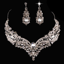 Wedding Bridal Queen Style Fully Shiny Rhinestone Necklace Earrings Jewelry Set