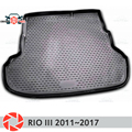Коврик багажника для Kia Rio 3 2011 ~ 2017 багажника коврики Нескользящие полиуретановые грязи защиты багажник Тюнинг автомобилей