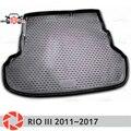 Mat tronco para Kia Rio 3 2011 ~ 2017 maletero alfombras de piso antideslizante poliuretano tierra Protección interior del maletero de coche estilo