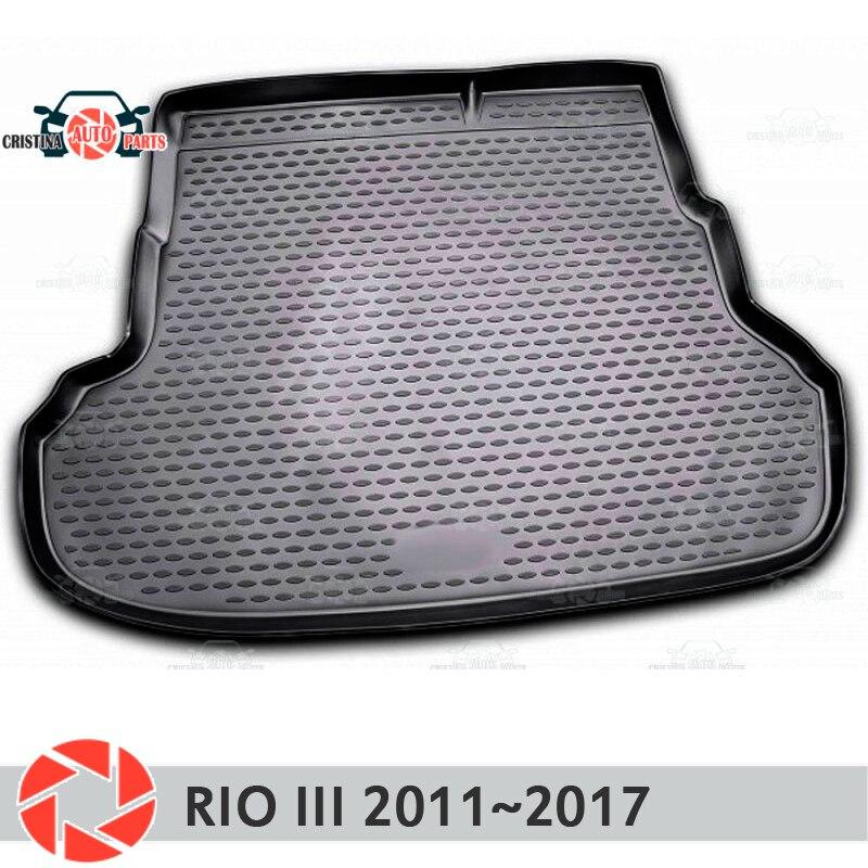 Tapis de coffre pour Kia Rio 3 2011 ~ 2017 tapis de sol de coffre antidérapant polyuréthane protection contre la saleté intérieur de coffre style de voiture