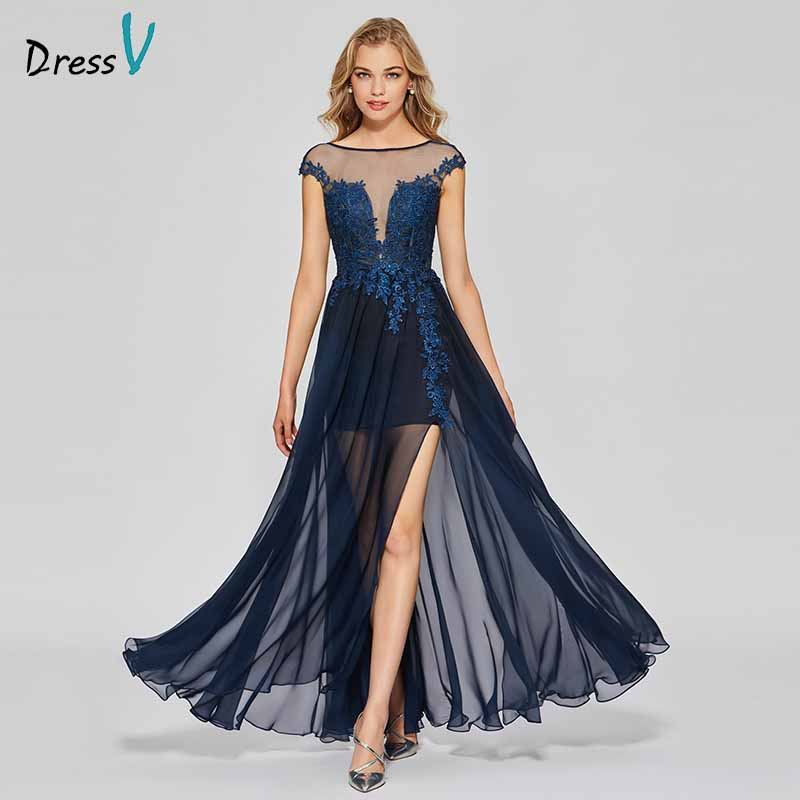 Dressv dark navy elegant appliques long   prom     dress   scoop neck floor length backless evening party gown   prom     dresses   customize