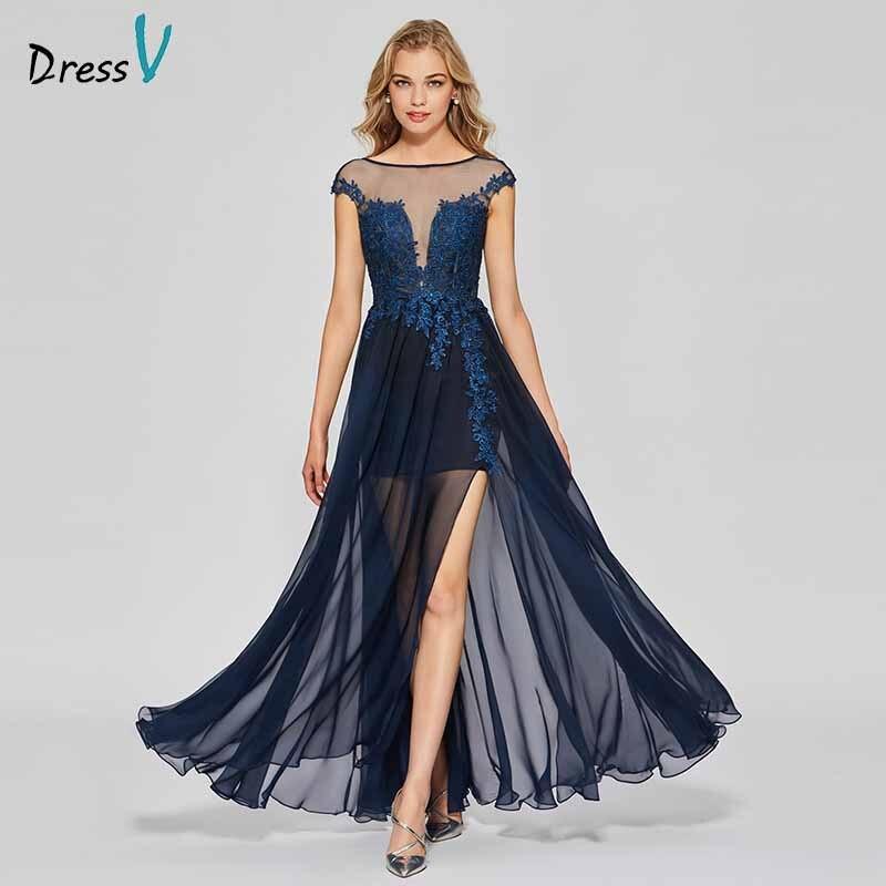 0d6077c7b5fd1 Dressv dark navy elegant appliques long prom dress scoop neck floor length  backless evening party ...