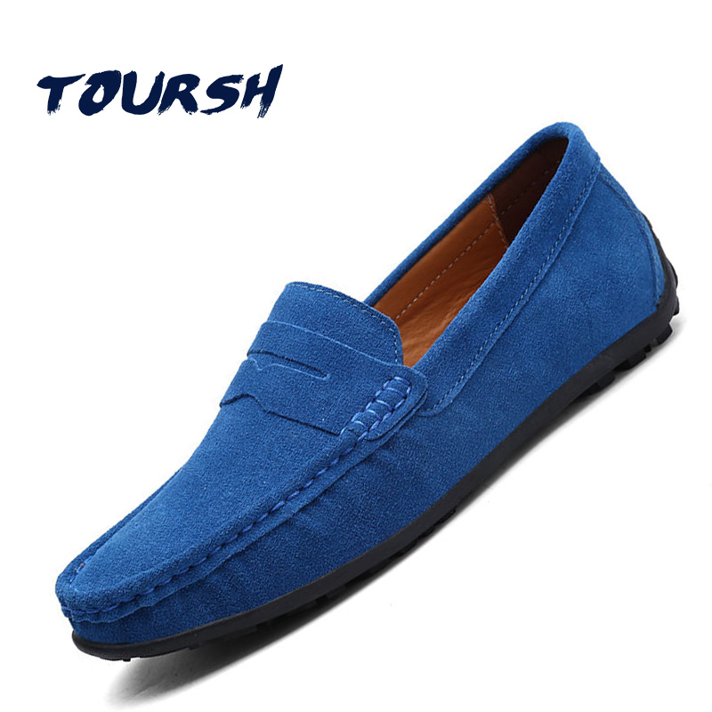 TOURSH 2018 Fashion Men Shoes Men Loafers Driving Moccasins Gommino Suede Leather Men Casual Shoes Slip On Men'S Flats Loafers tangnest brand men loafers 2017 men suede leather flats casual moccasins driving shoes for male soft flat shoes 4 colors xmr2448