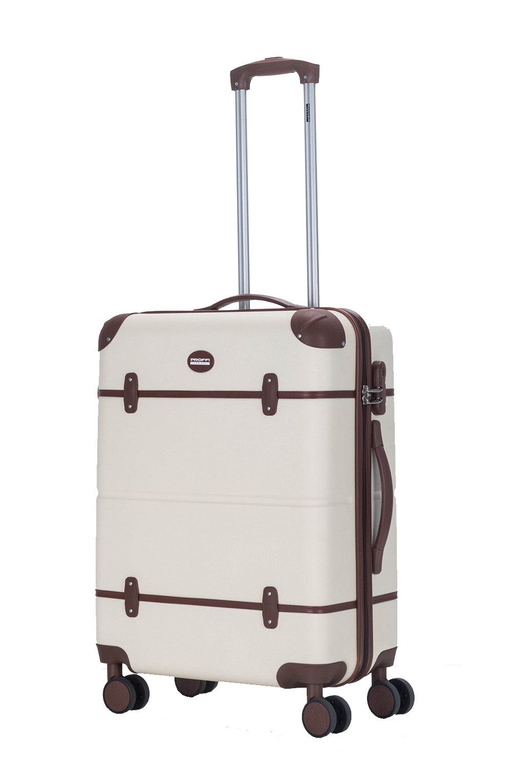 Plastic suitcase PROFFI TRAVEL Tour Vintage PH9729, with combination lock, beige, L scyl with coded lock ni5l travel luggage suitcase strap baggage backpack belt