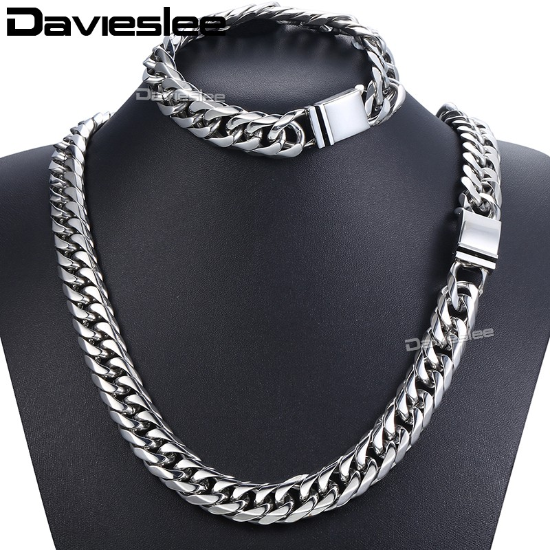 Davieslee Iced Out Paved Rhinestones Cuban Chain Men s Necklace Bracelet 316L Stainless Steel Gold Silver
