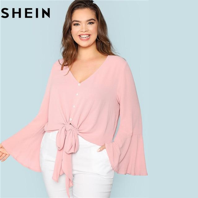 b6ef4277b1d SHEIN Elegant Pink V Neck Ruffle Sleeve Knot Hem Women Plus Size Blouses  2018 Autumn Fashion Solid Workwear Office Lady Shirts