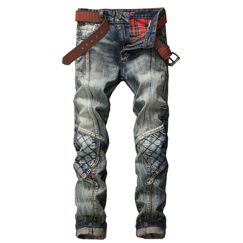 MORUANCLE New Mens Cargo Jeans Joggers Fashion Designer Vintage Denim Pants Slim Fit Straight Jean Trousers Patchwork E0018
