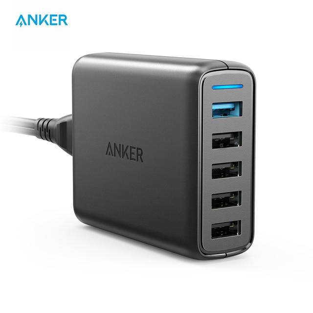 Anker 51,5 W 5-Puerto USB cargador de pared PowerPortSpeed5 para Galaxy S7/S6/borde + nota LG HTC con PowerIQ para iPhone X/8/7/iPad