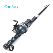 Bobing Mini Folding Telescopic Fishing Rod Pole Portable Fishing Rod Reel Outdoor Sports Fishing Tackle Tool Accessories