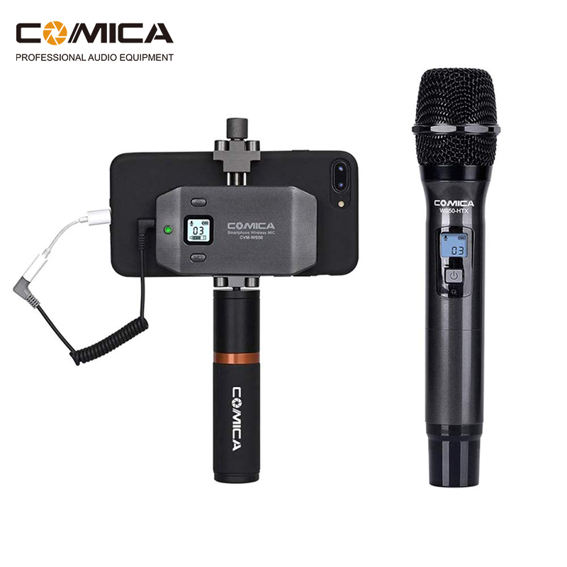 COMICA CVM-WS50H Multi-Channels Smartphone Wireless Microphone With Hand-held Transmitter 6 Channels 60m Working Distance