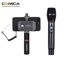 Comica CVM WS50 (C) Kit vidéo pour Smartphone, Microphone sans fil UHF 6 canaux avec écran LCD support de trépied pour téléphone iPhone