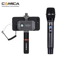 Comica CVM WS50 (C) Smartphone וידאו ערכת, UHF 6 ערוץ אלחוטי מיקרופון עם LCD מסך טלפון חצובה מחזיק עבור iPhone מצלמה