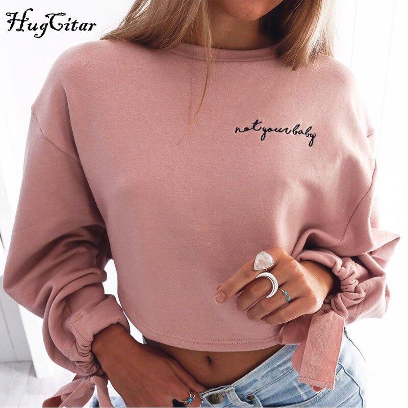 Hugcitar lettere del ricamo della Maglietta Felpata 2017 autunno donna Maglia A Manica Lunga crop top rosa bianco solido della ragazza Pullover casuale