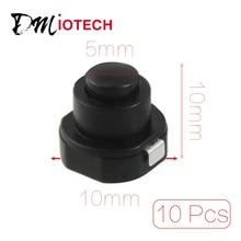 10 Pcs Flashlight Torch Part Round Push Button Switch Black DC 30V 1A diy 5 pin round push button switch module w red indicator black dc 12v
