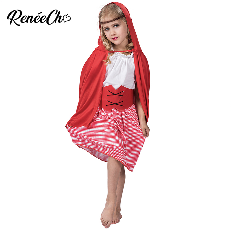 halloween costume for Child Little Red Riding Hood Costume Kids Costumes For cosplay girls Red dress cape belt set stage wear