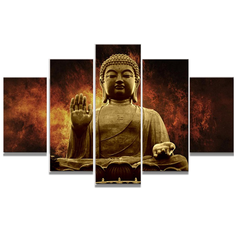 Framed Modern Buddha Painting Picture Prints on Canvas Wall art for Home Office Room Decoration Gift Stretched Ready to Hang