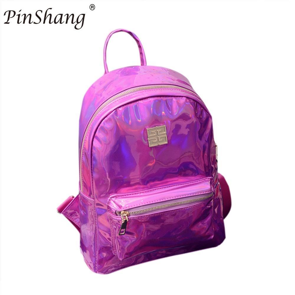 PinShang Girls Backpack Shiny Hologram Laser PU Shouder Bag Satchel Backpack School Daypack youth In vogue schoolbag ZK20