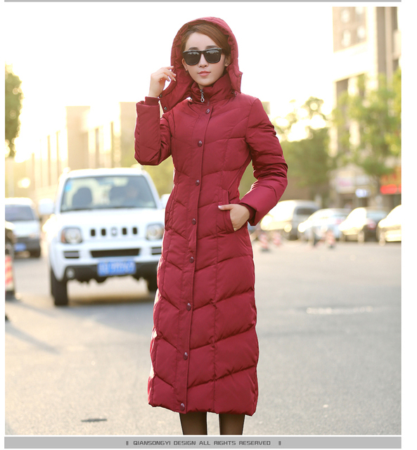 Winter Lady Cotton Jacket Fashion Elegant Long section Jacket Women's Single Buttoned Hooded warm Parker Coat
