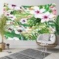 Еще тропические джунгли зеленый лист белые фиолетовые цветы 3D печать декоративные хиппи богемный настенный гобелен с пейзажем настенное и...