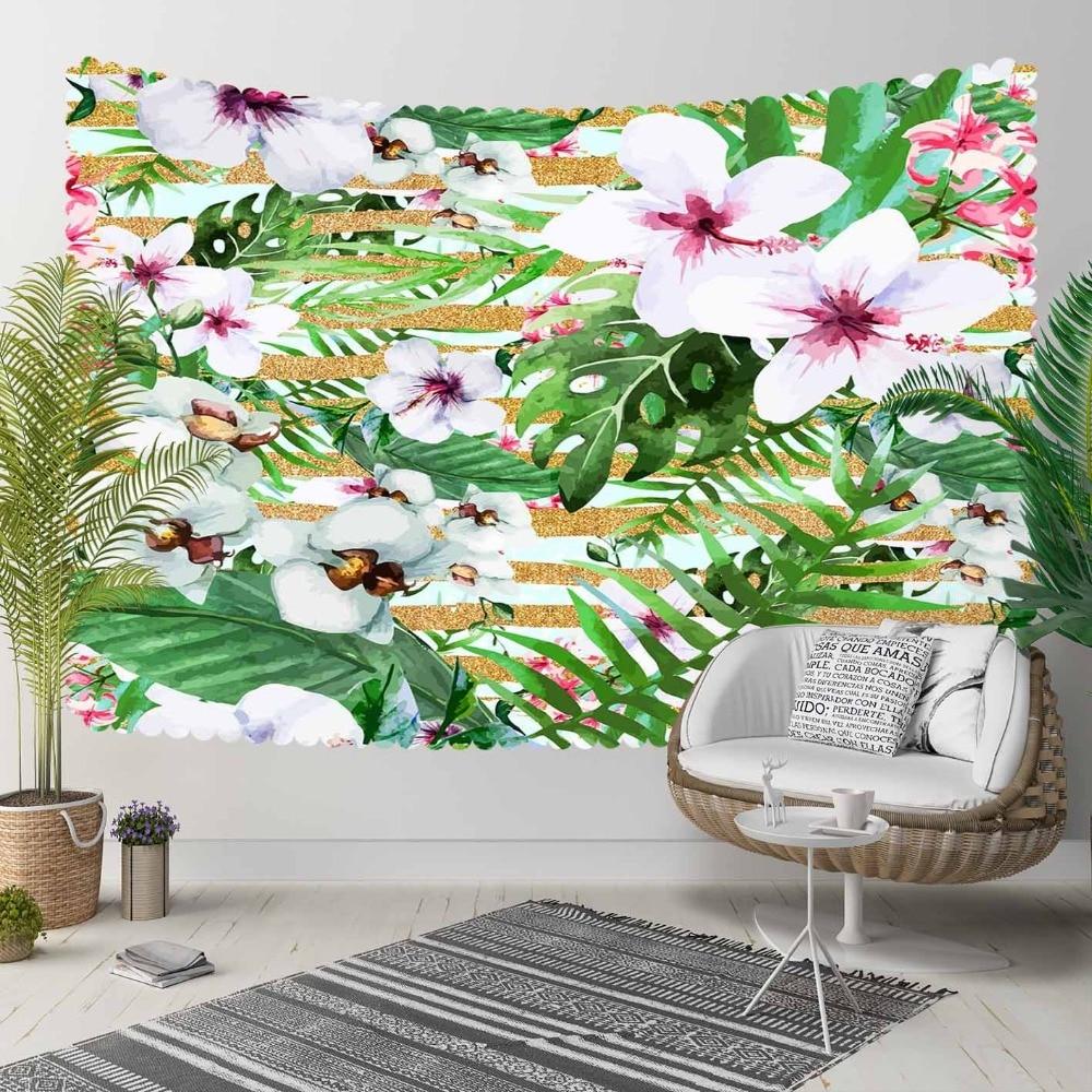 Autre Tropical Jungle vert feuille blanc violet fleurs 3D imprimer décoratif Hippi bohème tenture murale paysage tapisserie mur Art