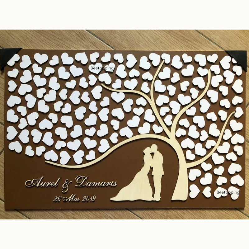 3D Wedding Guest Book Alternative Personalized Guest Books Sign Rustic Guest Book Tree Unique Entrance Signature