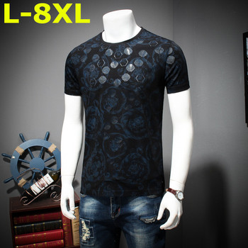 2018 8xl 9xl Summer Mens Casual T Shirts Black Flower Print Brand Clothing For Man's Short Sleeve Loose T-Shirts Male Tops Tee