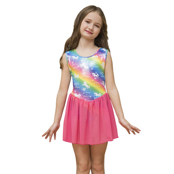 Girl Rainbow Unicorn Sleeveless Swimsuit Leotards