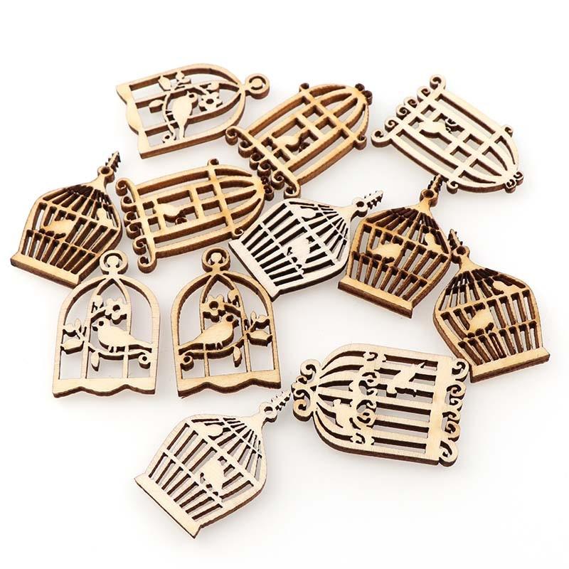 50Pcs DIY Wooden Birdcage Pendant  Embellishments Crafts Scrapbooking Supplies Hand-made Graffiti Buttons