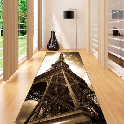 Else Brown Retro Eiffel Tower Paris Vintage 3d Print Non Slip Microfiber Washable Long Runner Mat Floor Mat Rugs Hallway Carpets