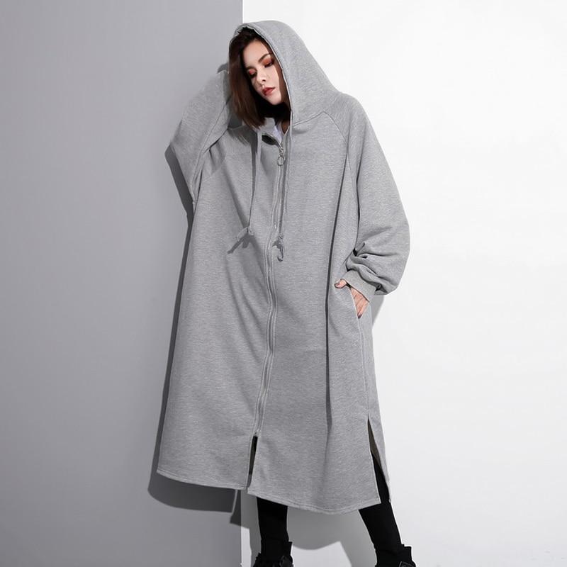 ZANZEA Women Winter Hoodies Outwear Large Size Long Batwing Sleeve Hooded Zipper Sweatshirts Coats Jackets Loose Sweats Pullover